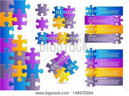 Vector infographic puzzle designs collection with numbered options