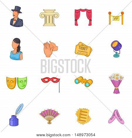 Theatre icons set in cartoon style. Theatre acting performance set collection vector illustration