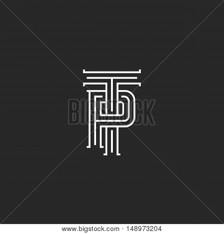 Letters Tp Logo Hipster Monogram, Weaving Thin Line Emblem Pt Medieval Initials, Overlapping Two Sym