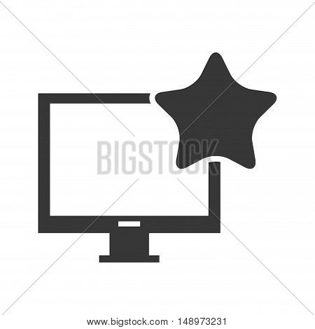 screen monitor computer device with star shape icon silhouette. vector illustration