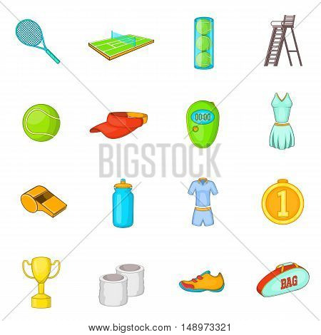 Tennis icons set in cartoon style. Tennis attributes set collection vector illustration