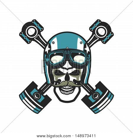 vector skull emblem in the helmet with the pistons on a white background