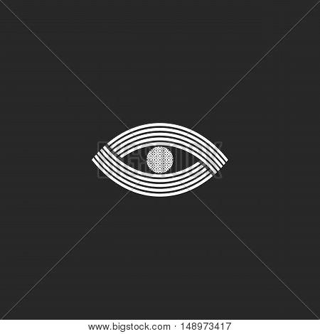 Eye Logo Monogram Creative Design Mockup. Black And White Simple Media Icon. Vision Optical Emblem I
