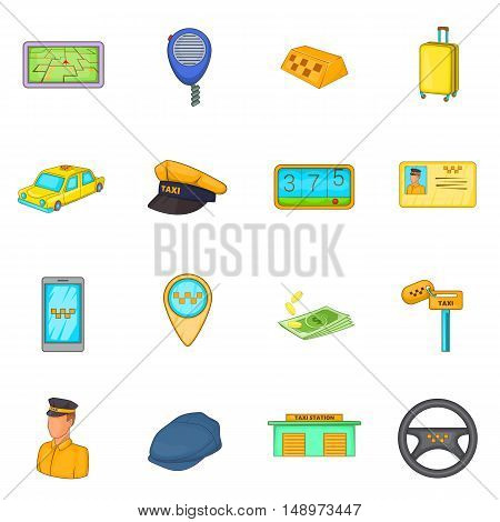Taxi icons set in cartoon style. Taxi service elements set collection vector illustration