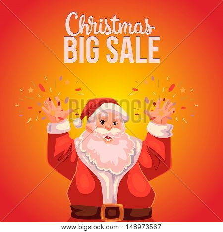 Cartoon style Santa Claus making fireworks, Christmas vector sale banner, red background, text at the top. Half length portrait of Santa declaring a sale, Christmas sale banner template