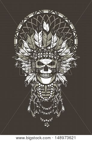 vector illustration of a dead Indian chief in a headdress of feathers and attributes of power Black background