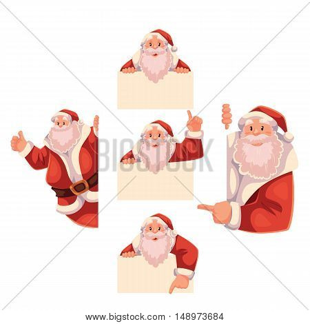Set of Santa Claus holding a sign and giving thumbs-up, cartoon style vector illustrations isolated on white background. Santa Claus showing, pointing, holding an empty sign, Christmas decoration