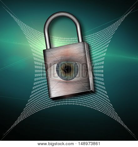 Binary Code Web and padlock with eye  3D Render