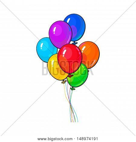 Bunch of several bright and colorful balloons, cartoon vector illustration isolated on white background. several of red, yellow and green balloons, birthday, party carnival decoration elements
