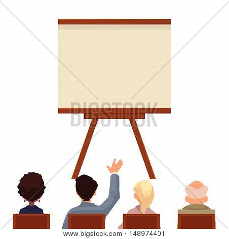 Presentation board in front of a group of people, sketch style illustration isolated on white background. Flip chart template. People sitting and looking at the board, business presentation