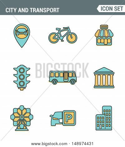 Icons line set premium quality of various city elements street transportation sign. Modern pictogram collection flat design style. Isolated white background