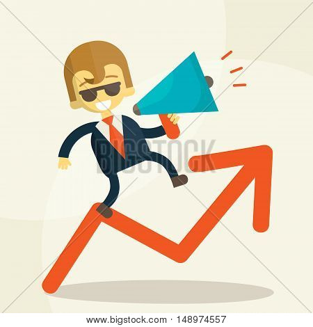 Businessman running on arrow with a megaphone, Flete style illustration. Growth statistics are good indicators of a cheerful businessman informs about this. Story into a megaphone on good terms.
