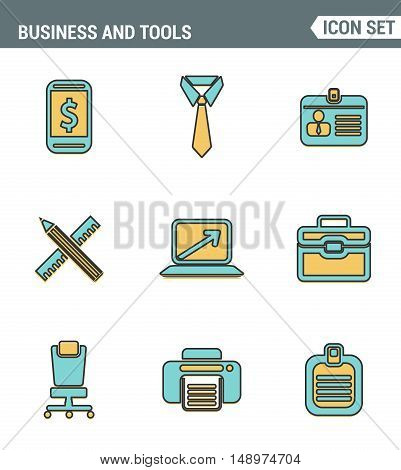 Icons line set premium quality of basic business essential tools office equipment. Modern pictogram collection flat design style. Isolated white background