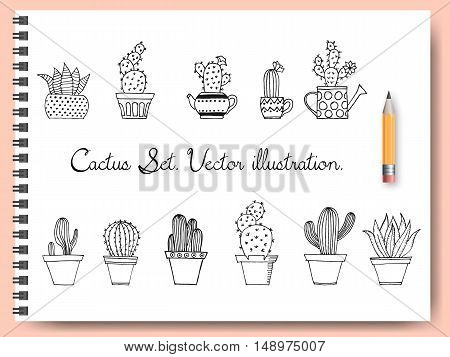 Cactus Set In Simple Hand Drawn Style. Cute Doodle Potted Cacti Collection. Decorative Houseplants.