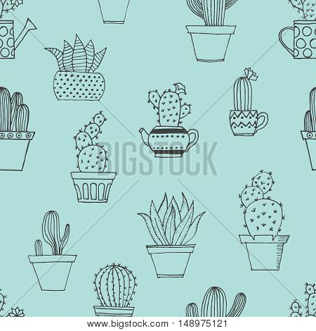 Hand Drawn Seamless Pattern With Cute Cactus In Simple Style. Cute Cartoon Potted Cacti Pattern. Vec
