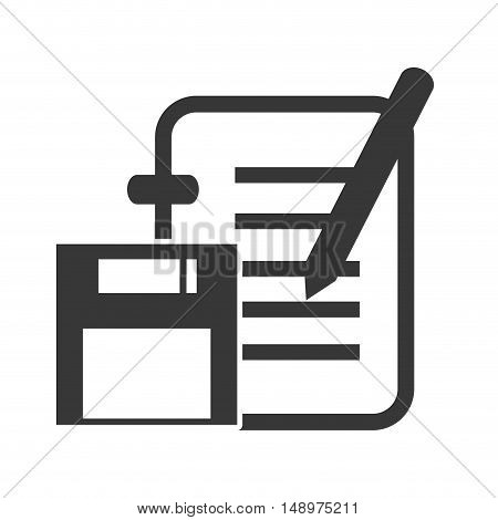 file document page and pen with diskette icon silhouette. vector illustration