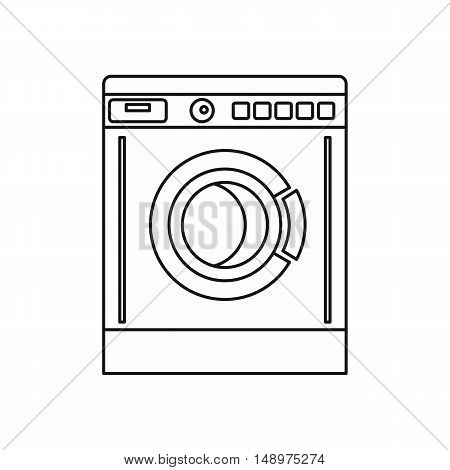Washing machine icon in outline style on a white background vector illustration