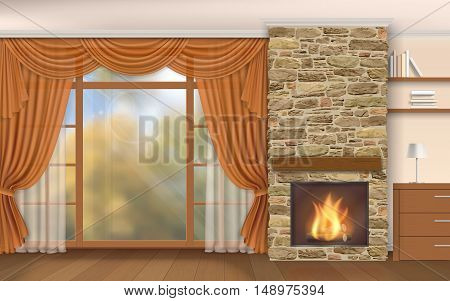 Living room interior with fireplace of stone and autumn scenery outside the window.