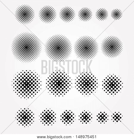 set of halftone circles, abstract background, vector illustration