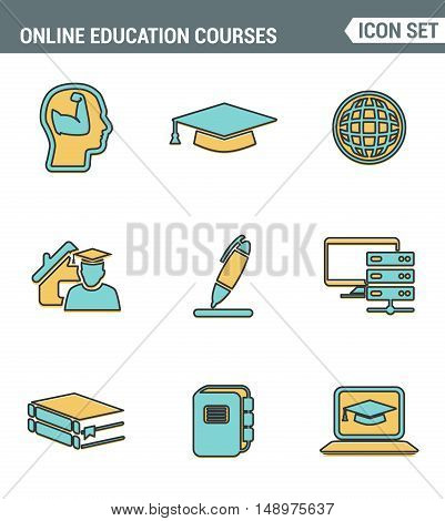 Icons line set premium quality of online education class and internet course study. Modern pictogram collection flat design style symbol . Isolated white background