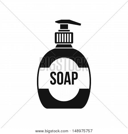 Bottle of liquid soap icon in simple style on a white background vector illustration
