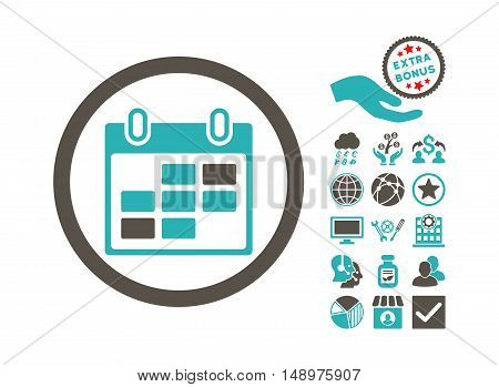 Calendar Days icon with bonus elements. Vector illustration style is flat iconic bicolor symbols grey and cyan colors white background.