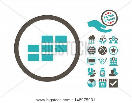 Calendar Grid icon with bonus clip art. Vector illustration style is flat iconic bicolor symbols grey and cyan colors white background.