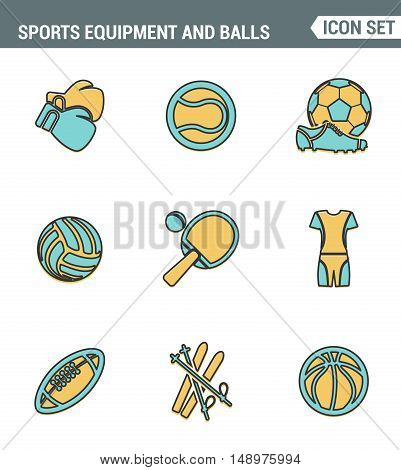 Icons line set premium quality of sports equipment and wear various type balls. Modern pictogram collection flat design style symbol . Isolated white background