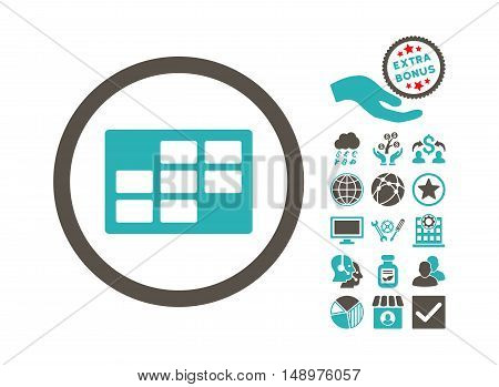 Calendar Table icon with bonus design elements. Vector illustration style is flat iconic bicolor symbols grey and cyan colors white background.