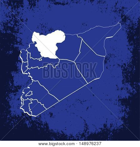 Vector Syria State Boundaries Map Blueprint With Grunge