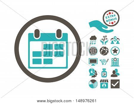 Calendar icon with bonus icon set. Vector illustration style is flat iconic bicolor symbols grey and cyan colors white background.