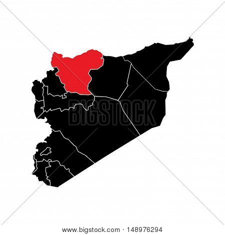 Vector Syria State Boundaries Map Black & Red