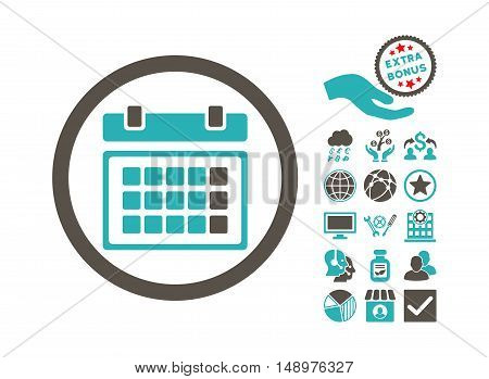 Calendar pictograph with bonus icon set. Vector illustration style is flat iconic bicolor symbols grey and cyan colors white background.