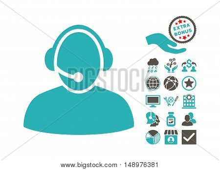 Call Center icon with bonus symbols. Vector illustration style is flat iconic bicolor symbols grey and cyan colors white background.