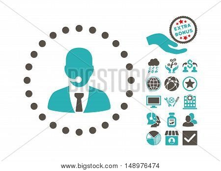 Call Center Operator pictograph with bonus icon set. Vector illustration style is flat iconic bicolor symbols grey and cyan colors white background.
