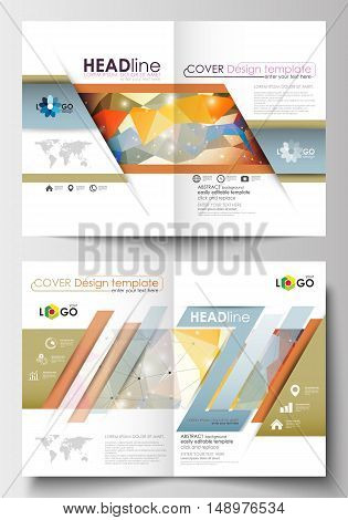 Business templates for brochure, magazine, flyer, booklet or annual report. Cover design template, easy editable blank, abstract flat layout in A4 size. Abstract colorful triangle design vector background with polygonal molecules.