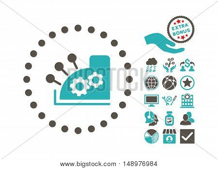 Cash Register pictograph with bonus design elements. Vector illustration style is flat iconic bicolor symbols grey and cyan colors white background.