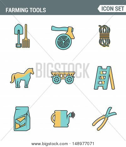 Icons line set premium quality of farming tools instrument farm equipment agricultural. Modern pictogram collection flat design style symbol . Isolated white background