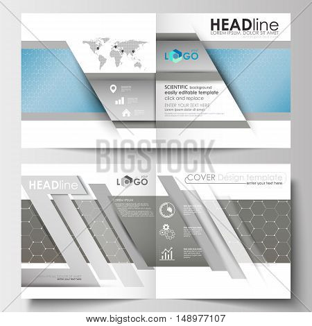 Business templates for square design brochure, magazine, flyer, booklet or annual report. Leaflet cover, abstract flat layout, easy editable blank. Scientific medical research, chemistry pattern, hexagonal design molecule structure, science vector backgro
