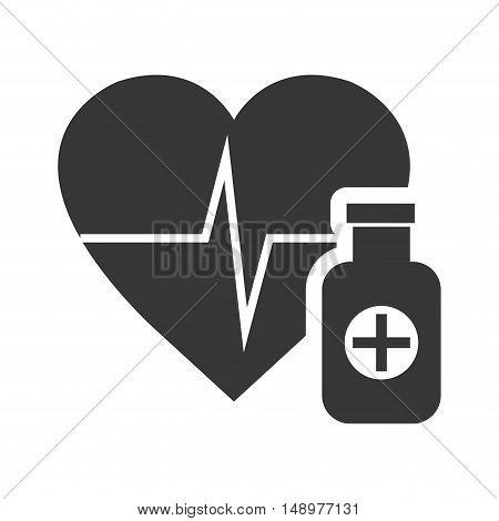 cardio pulse heart with medicine bottle icon silhouette. vector illustration