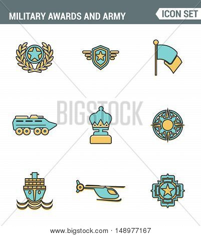Icons line set premium quality of military awards and army winner emblem trophy medallion. Modern pictogram collection flat design style symbol . Isolated white background