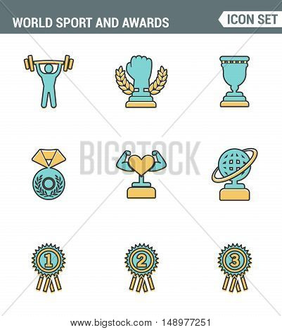 Icons line set premium quality of Sport and awards trophy victory championship. Modern pictogram collection flat design style symbol . Isolated white background