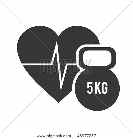 cardio pulse heart with dumbbell icon silhouette. vector illustration