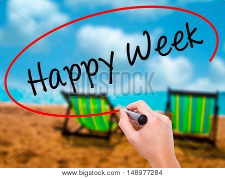 Man Hand Writing Happy Week With Black Marker On Visual Screen