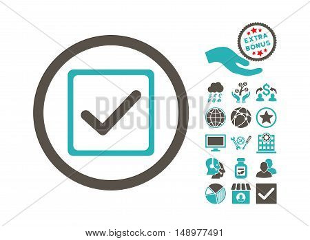 Checkbox pictograph with bonus images. Vector illustration style is flat iconic bicolor symbols grey and cyan colors white background.