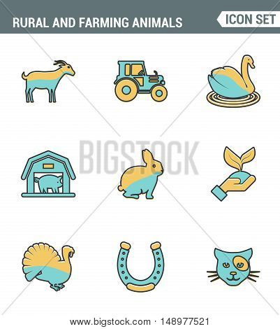 Icons line set premium quality of rural and farming animals agricultural nature industry. Modern pictogram collection flat design style symbol . Isolated white background