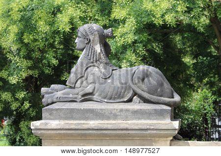 Sphinx statue along the Vltava river in Prague, Czech Republic