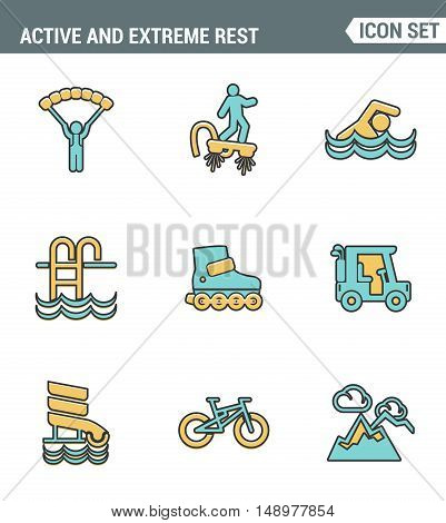 Icons line set premium quality of active and extreme rest holiday weekend sports hobby life style. Modern pictogram collection flat design symbol . Isolated white background