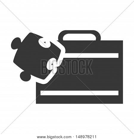 executive business briefcase with jigsaw puzzle icon silhouette. vector illustration
