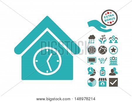 Clock Building pictograph with bonus elements. Vector illustration style is flat iconic bicolor symbols grey and cyan colors white background.